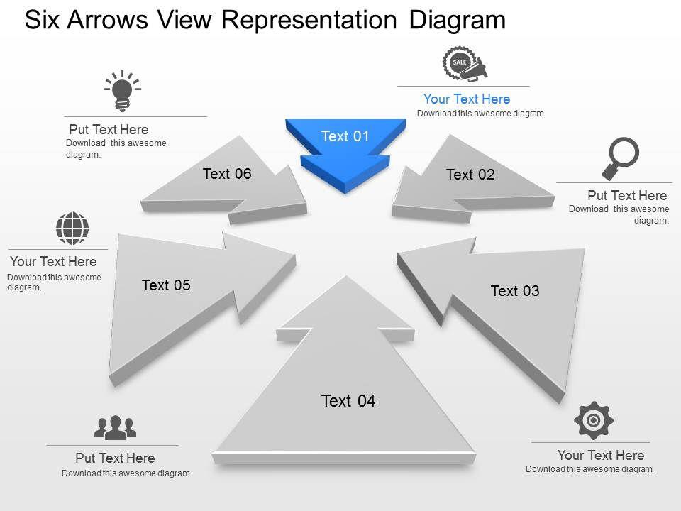 ub six arrows view representation diagram powerpoint template, Presentation templates