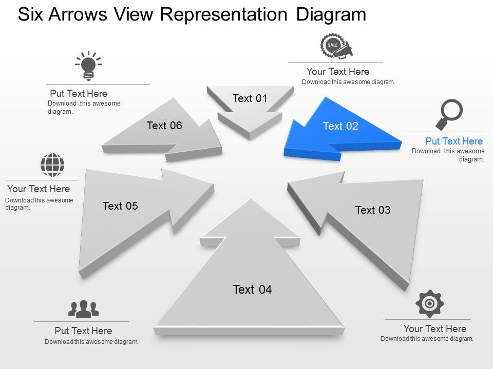 ub six arrows view representation diagram powerpoint template slide, Presentation templates