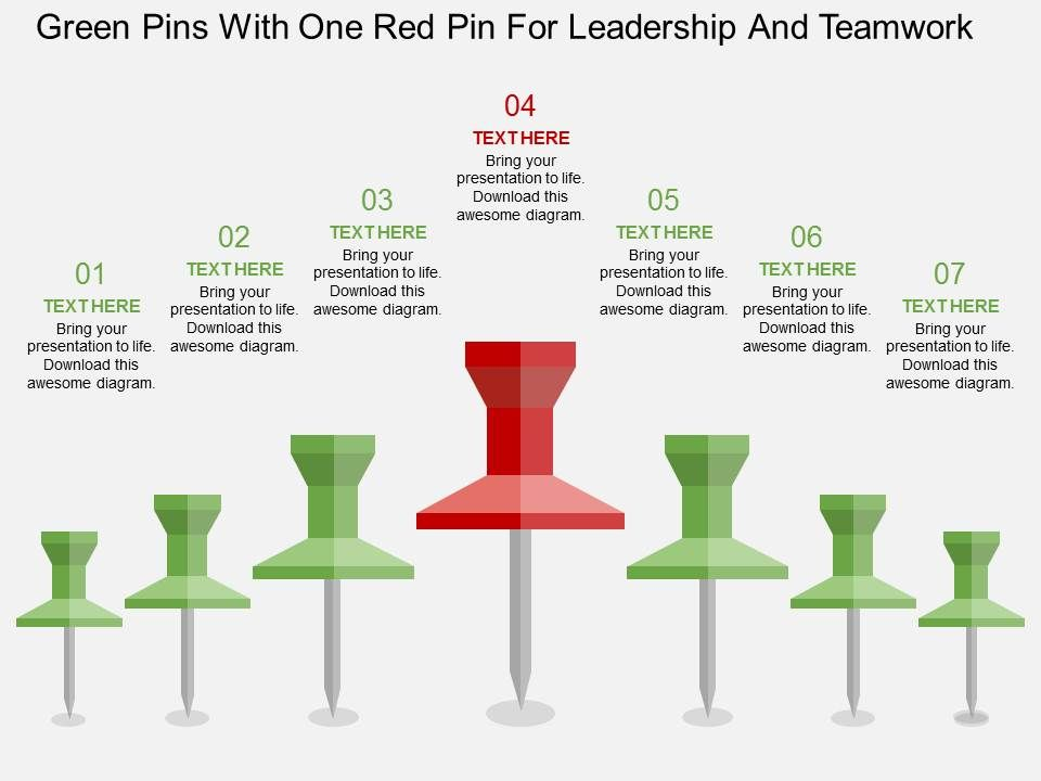 uc_green_pins_with_one_red_pin_for_leadership_and_teamwork_flat_powerpoint_design_Slide01