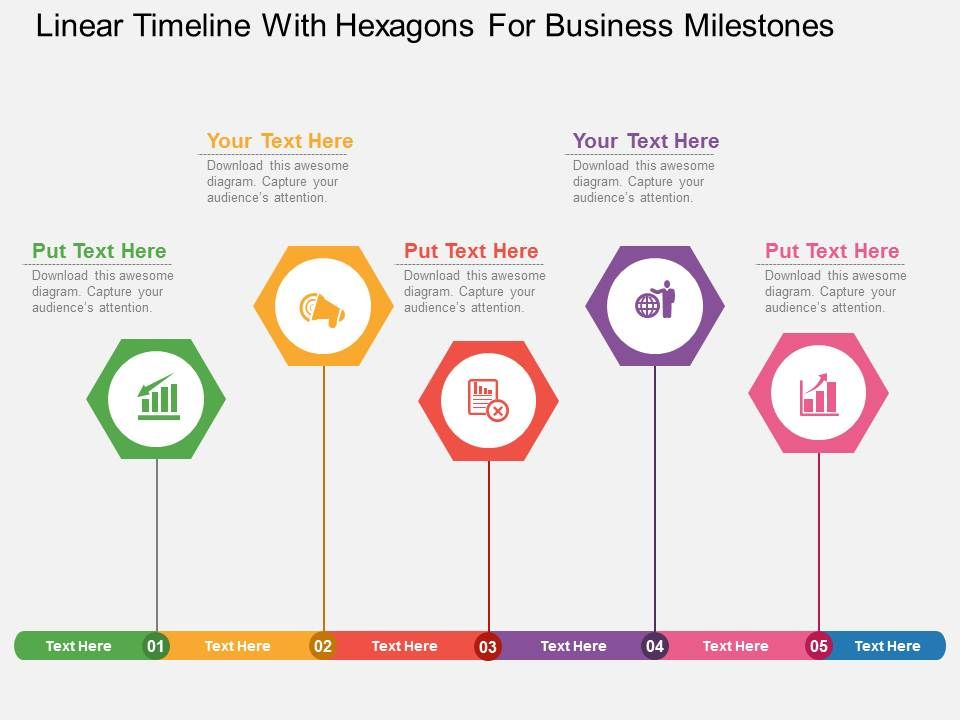 uf Linear Timeline With Hexagons For Business Milestones