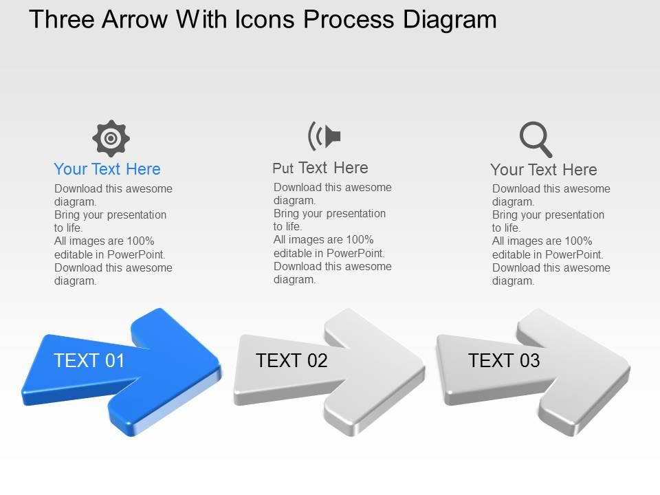 Uk Three Arrow With Icons Process Diagram Powerpoint Template Slide