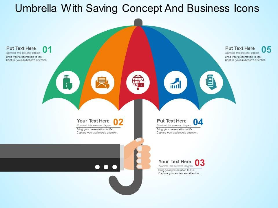 Umbrella with dollar symbol and icons flat powerpoint design umbrella with saving concept and toneelgroepblik Images