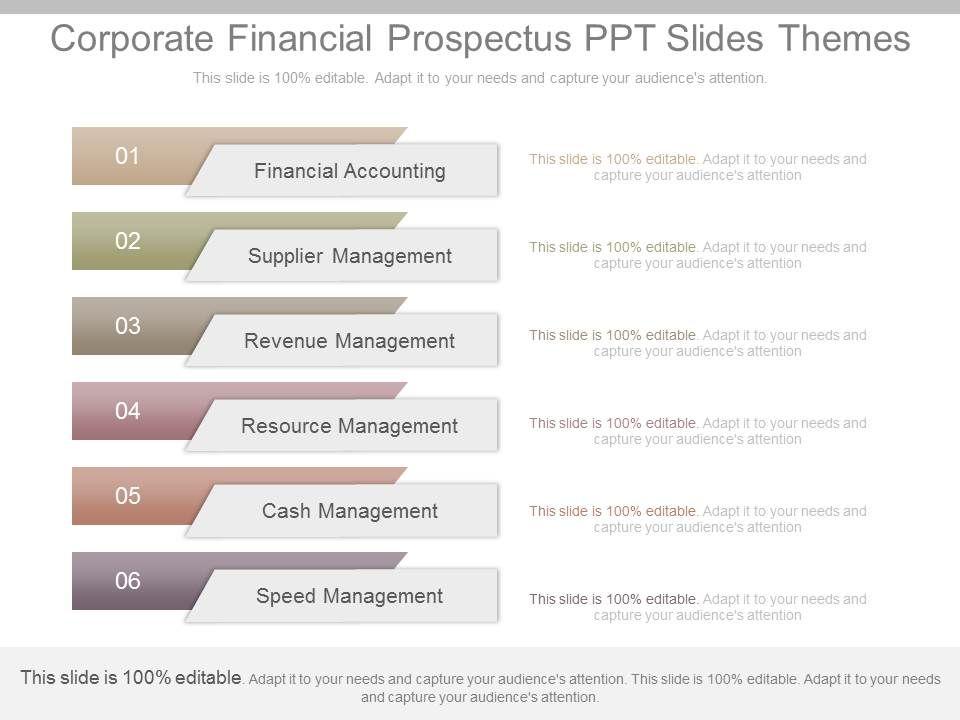 unique corporate financial prospectus ppt slides themes templates