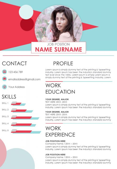 Unique Creative A4 Resume Powerpoint Template