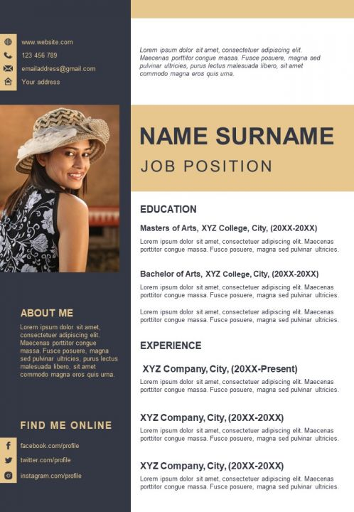 Unique Creative Layout A4 Resume Design Template Presentation