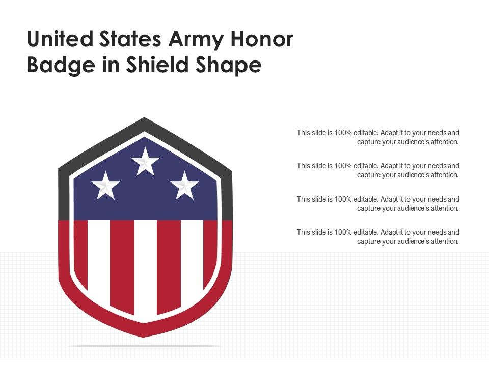 United States Army Honor Badge In Shield Shape