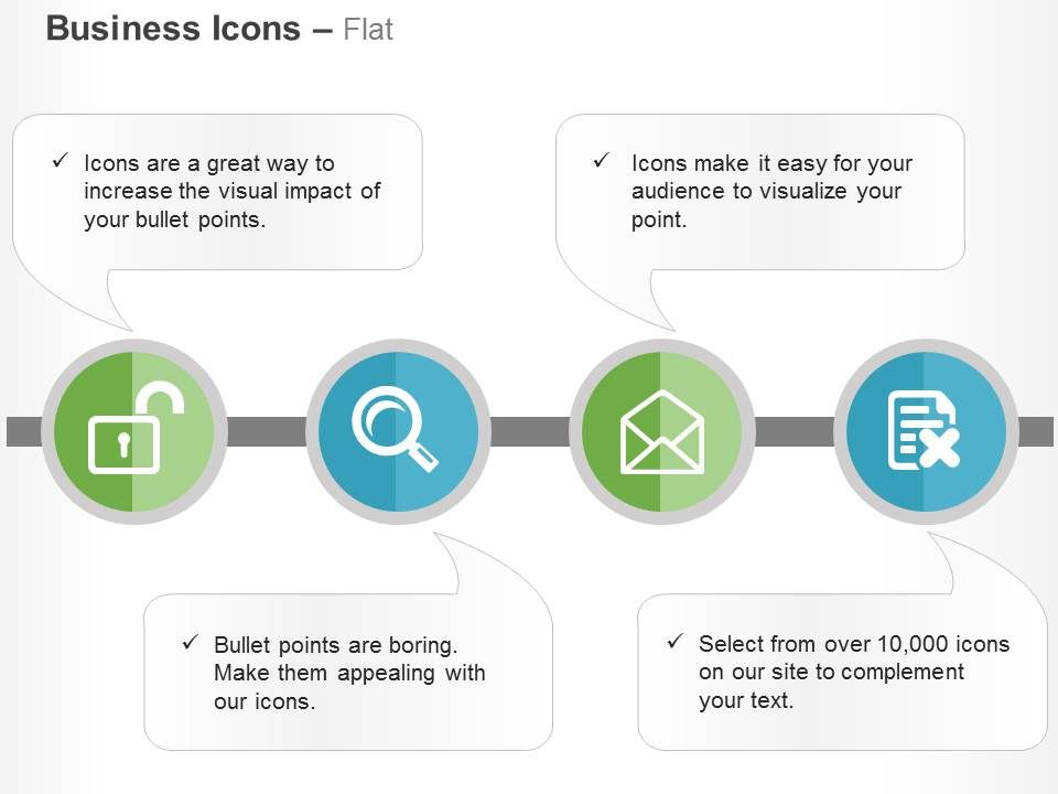 Unlocked Search Open Mail Delete Document Ppt Icons Graphics
