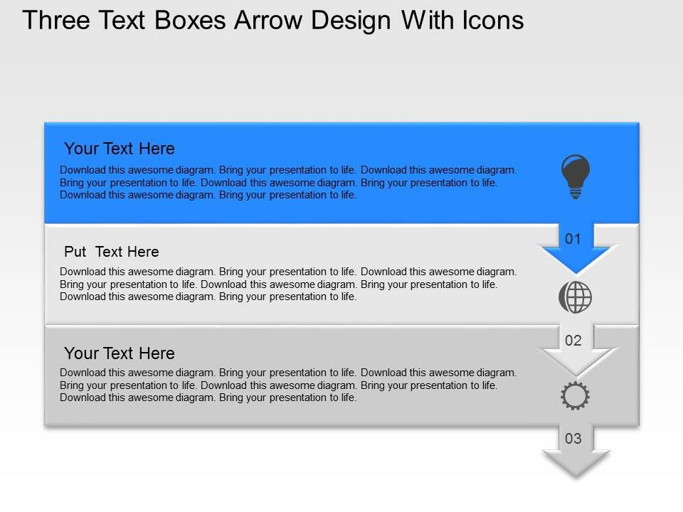 Uo Three Text Boxes Arrow Design With Icons Powerpoint Template ...