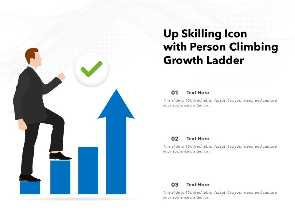 Up Skilling Icon With Person Climbing Growth Ladder