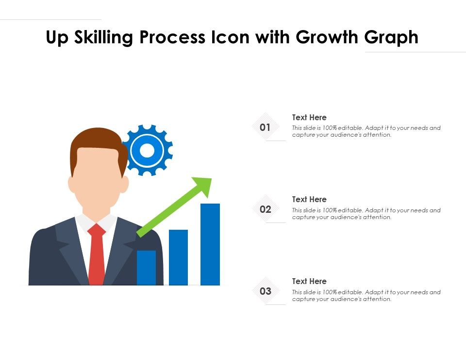 Up Skilling Process Icon With Growth Graph