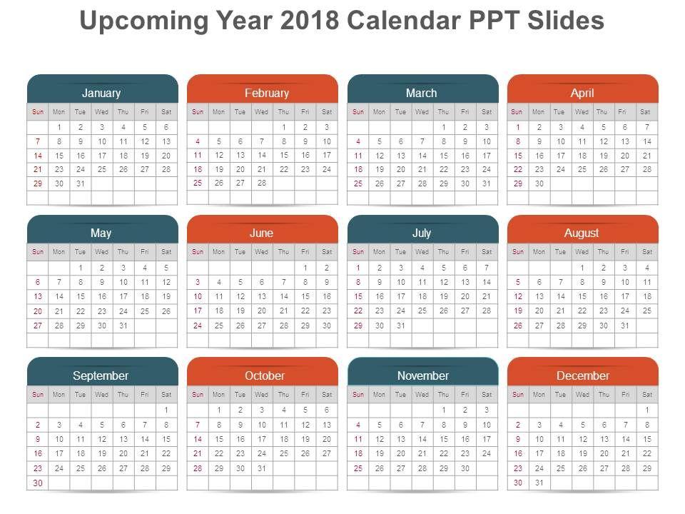 upcoming year 2018 calendar ppt slides powerpoint presentation templates ppt template themes powerpoint presentation portfolio