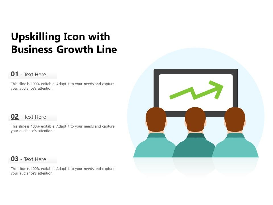 Upskilling Icon With Business Growth Line
