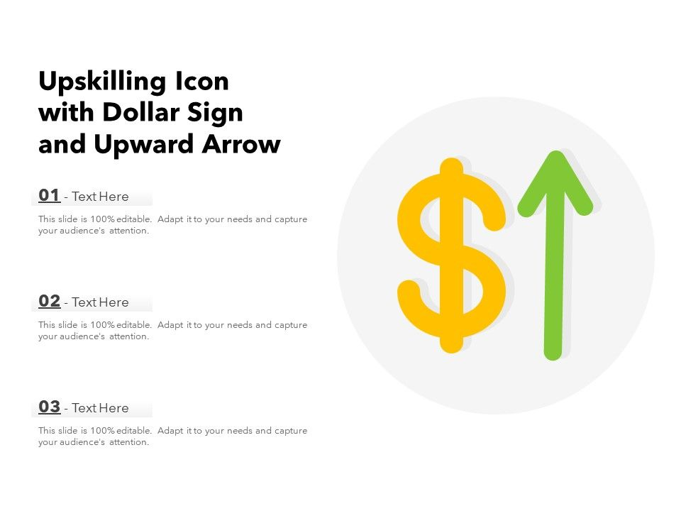 Upskilling Icon With Dollar Sign And Upward Arrow