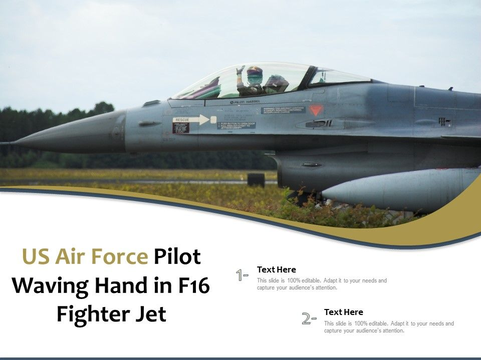 US Air Force Pilot Waving Hand In F16 Fighter Jet