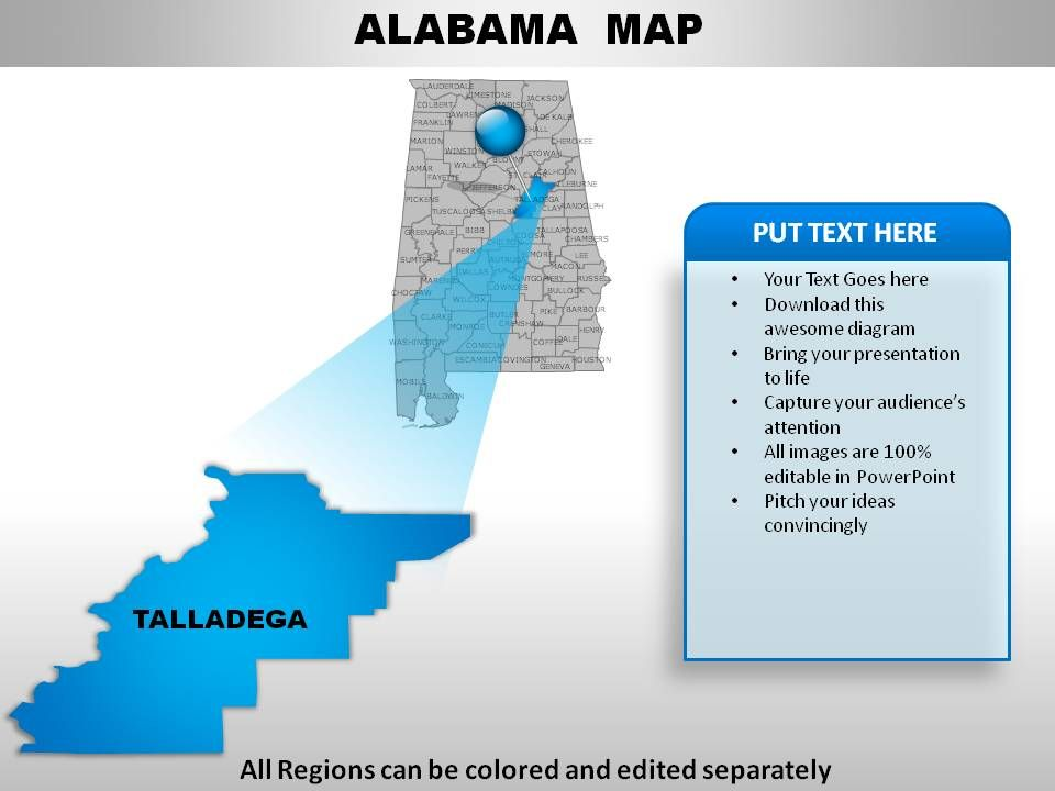 USA Alabama State Powerpoint Maps PowerPoint Presentation Sample - Alabama map usa