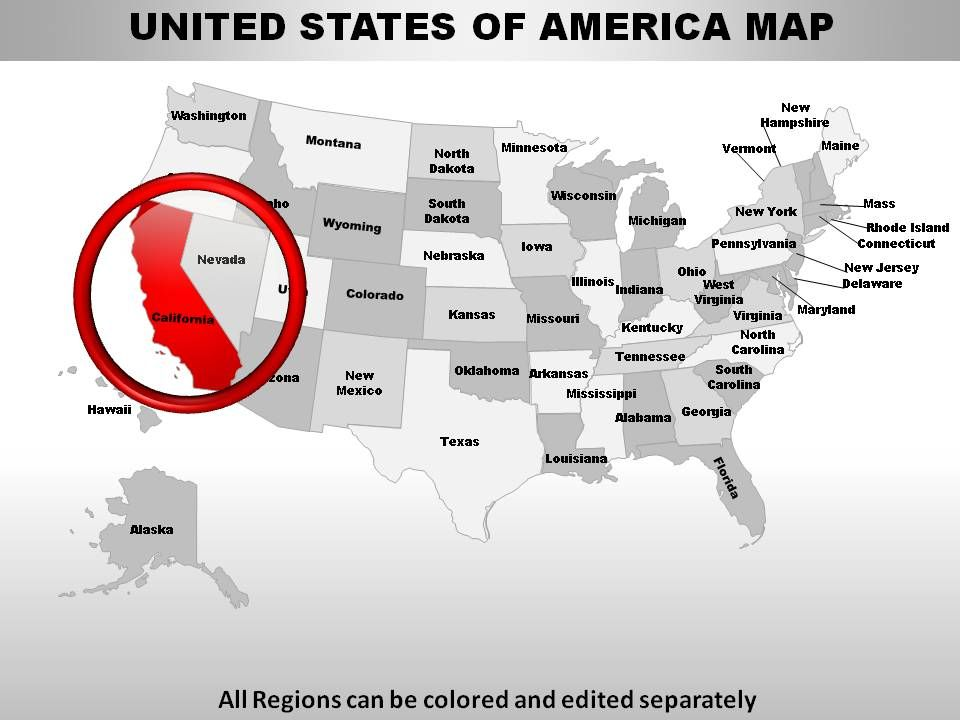 USA California State Powerpoint Maps PowerPoint Slide Clipart - Us map that can be edited