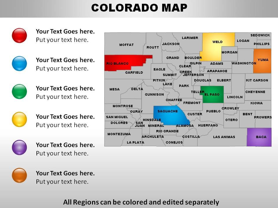 USA Colorado State Powerpoint Maps Templates PowerPoint - Colorado on map of usa