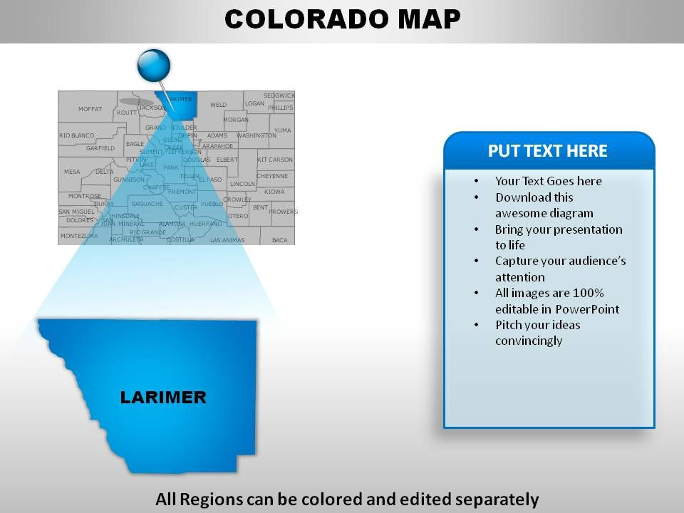 USA Colorado State Powerpoint Maps  Templates PowerPoint