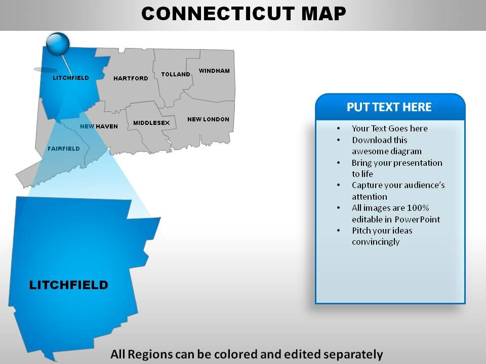 USA Connecticut State Powerpoint Maps PowerPoint Slides Diagrams - Map usa connecticut
