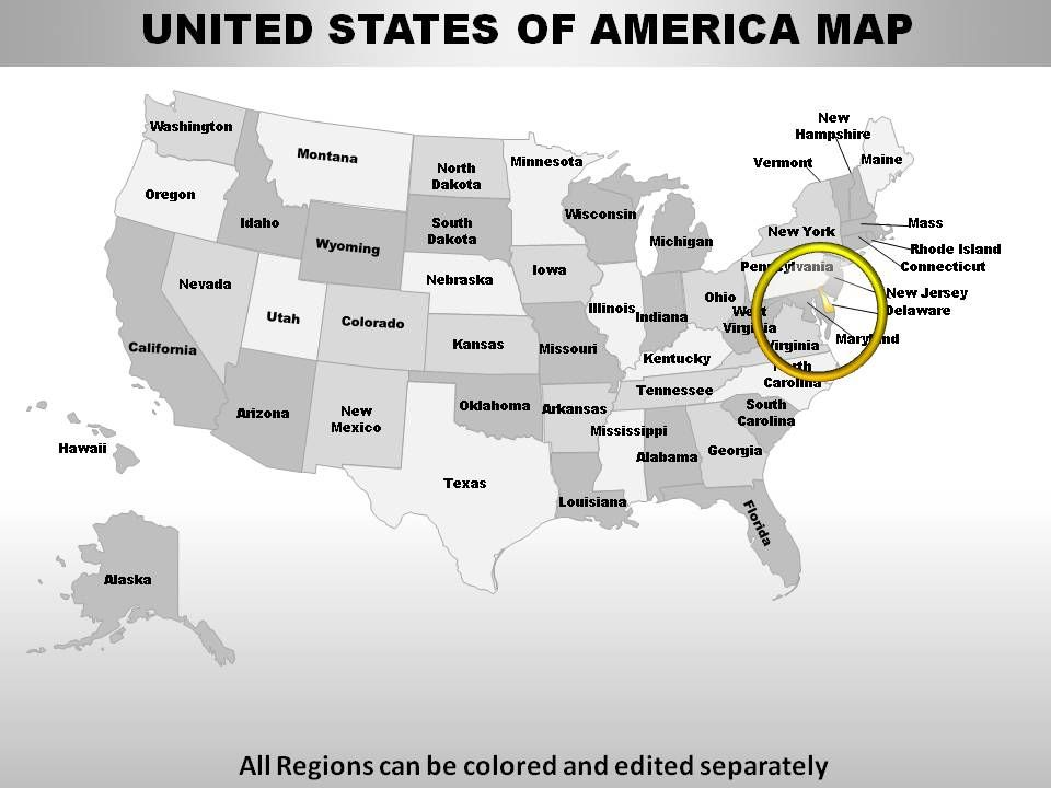 Usa Delaware State Powerpoint Maps Powerpoint Design Template - Us-map-delaware-state
