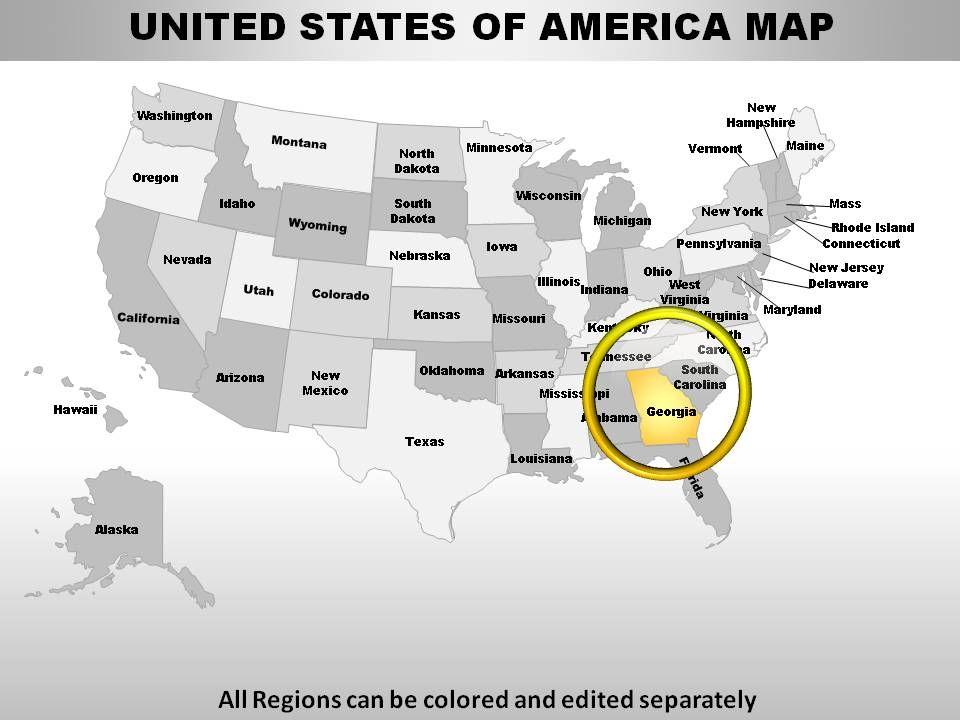 Usa Georgia State Powerpoint Maps Presentation Powerpoint Diagrams - Us-map-georgia-state