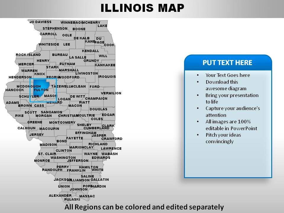 USA Illinois State Powerpoint Maps | PowerPoint Presentation Slides on illinois storm radar map, detroit map usa, illinois state, illinois on a map of north america, illinois county map, cartoon map of usa, iowa and illinois usa,