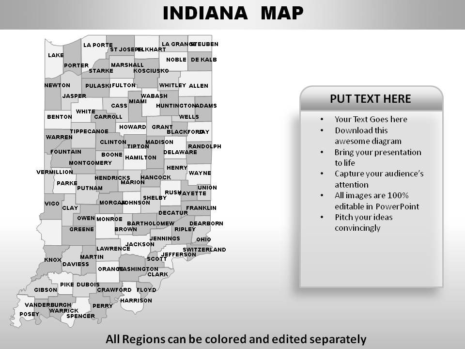 USA Indiana State Powerpoint Maps PowerPoint Presentation - Indiana map usa