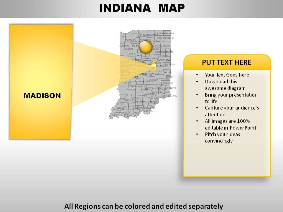 USA Indiana State Powerpoint Maps PowerPoint Presentation - Map of usa indiana