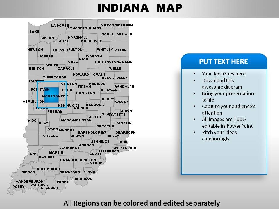USA Indiana State Powerpoint Maps   PowerPoint Presentation ...