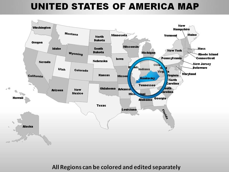 Usa Kentucky State Powerpoint Maps Powerpoint Presentation - Us-map-template-for-powerpoint-with-editable-states