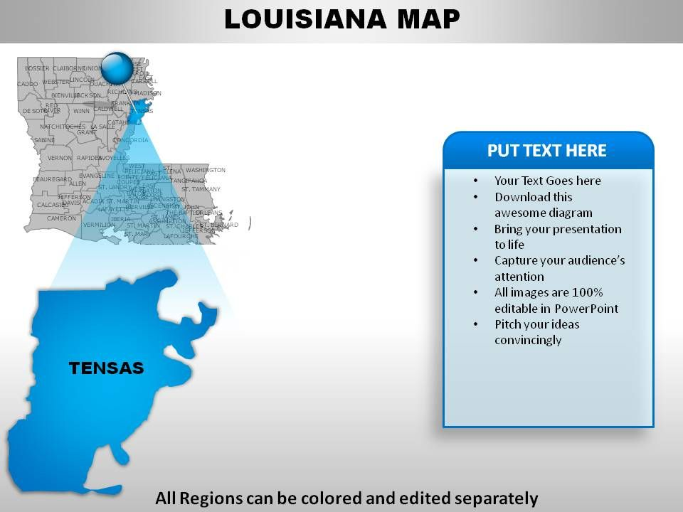 USA Louisiana State Powerpoint Maps PowerPoint Slide Templates - Louisiana on usa map