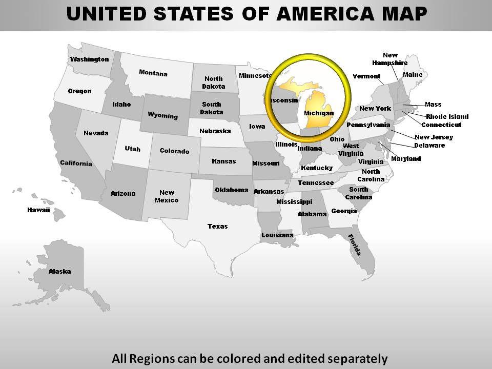 USA Michigan State Powerpoint Maps Presentation Graphics - Michigan state map usa