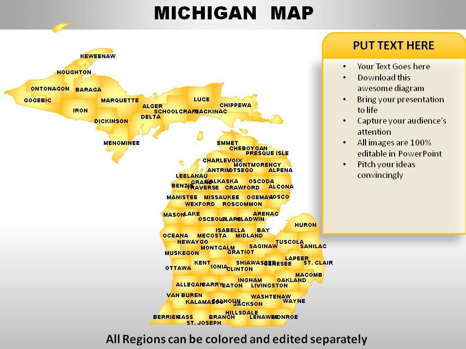 USA Michigan State Powerpoint Maps Presentation Graphics - Usa map michigan