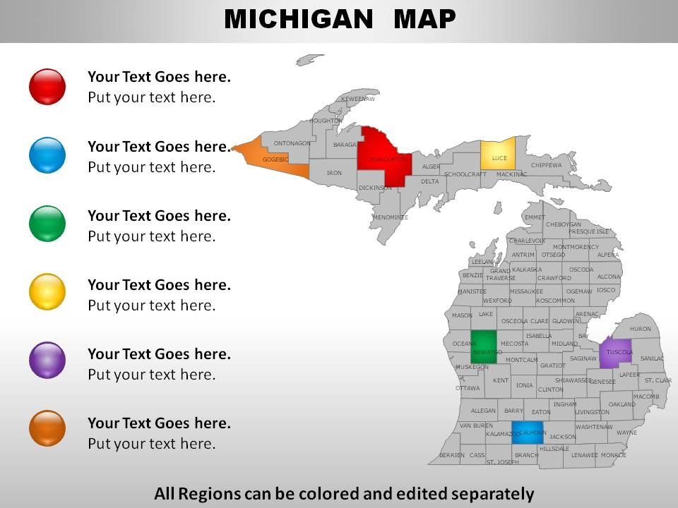 USA Michigan State Powerpoint Maps Presentation Graphics - Michigan on a map of the usa