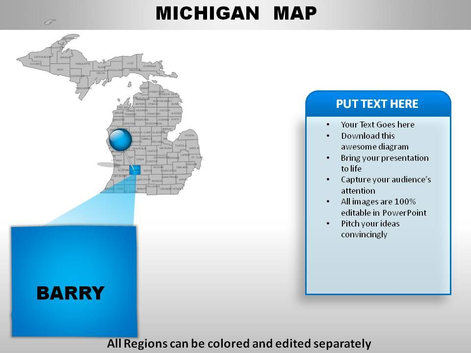 usa michigan state powerpoint maps | presentation graphics, Presentation templates