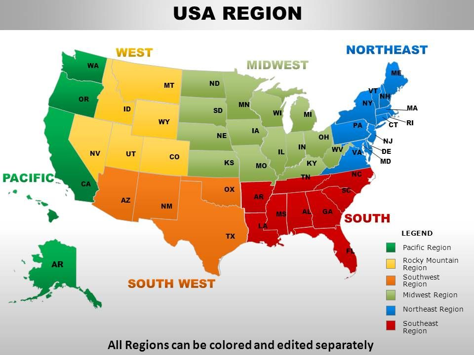 USA Midwest Region Country Powerpoint Maps PowerPoint - Us map midwest region