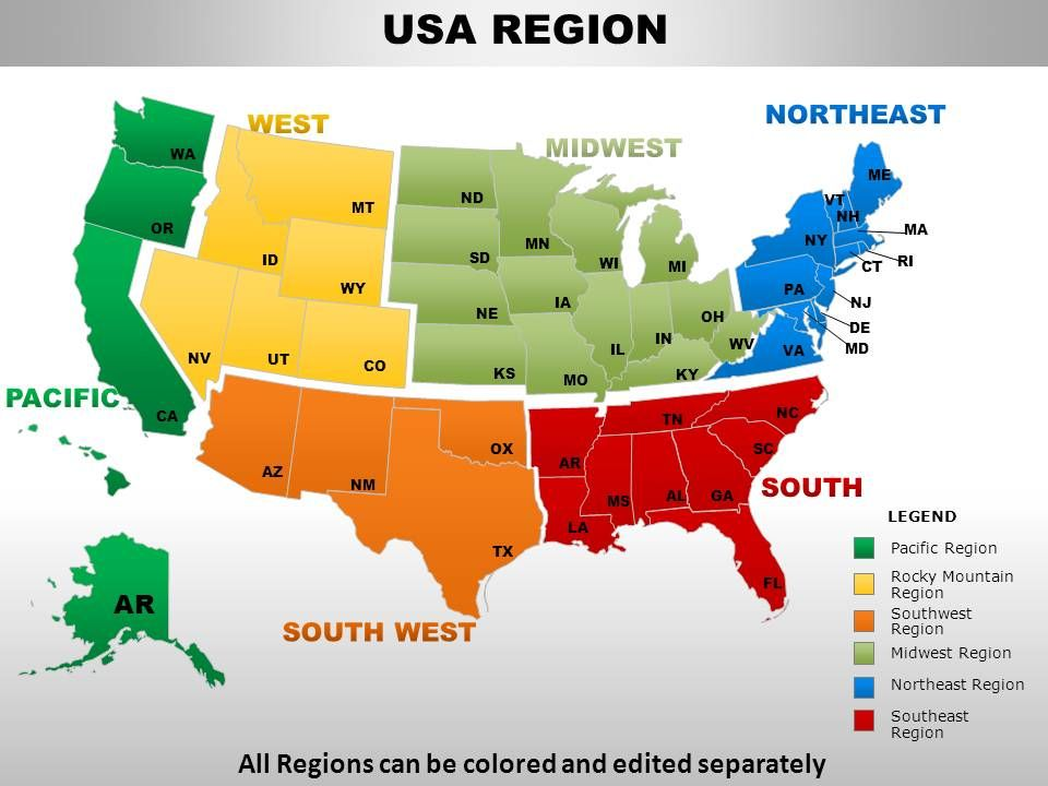 USA Midwest Region Country Powerpoint Maps PowerPoint - Usa map midwest