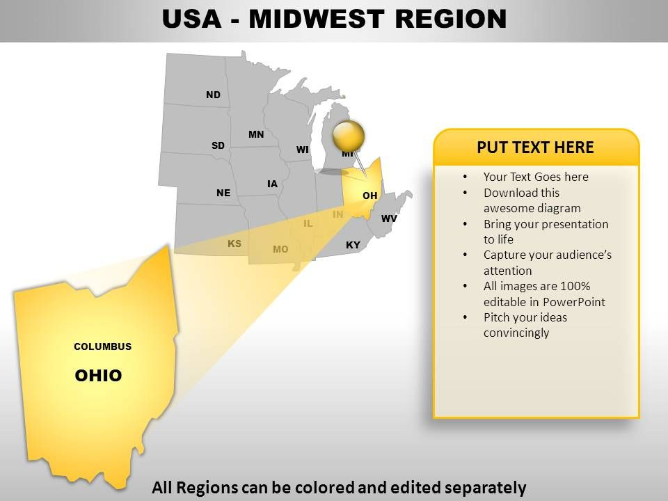 USA Midwest Region Country Powerpoint Maps   PowerPoint ... on interactive united states map powerpoint, time zone map powerpoint, europe map powerpoint, zip code map powerpoint, us history powerpoint, usa map powerpoint,