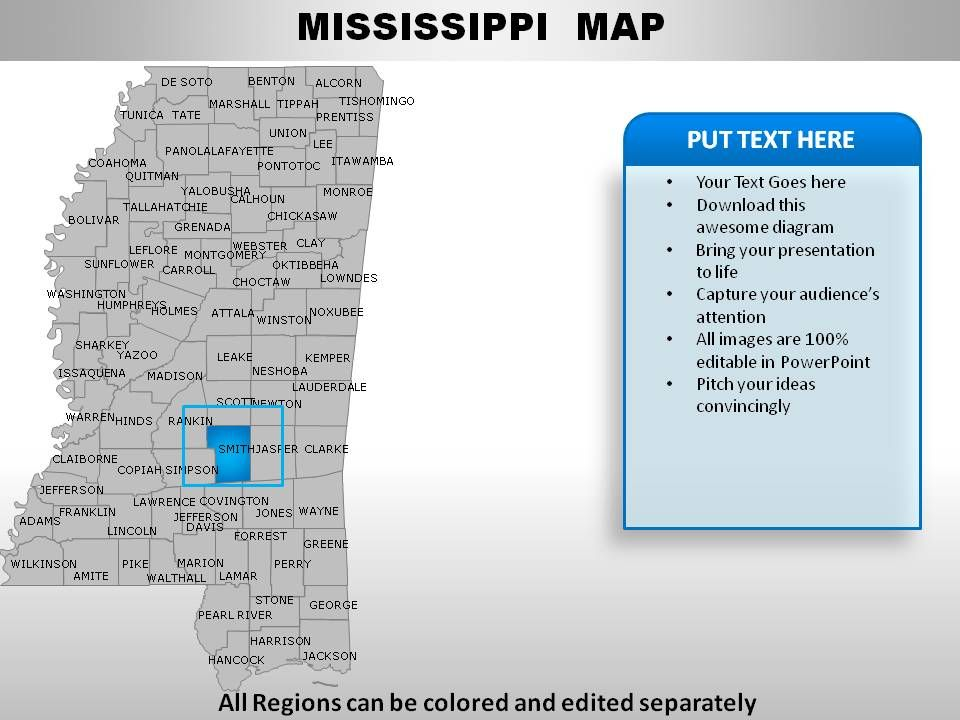 USA Mississippi State Powerpoint Maps Template Presentation - Mississippi map usa