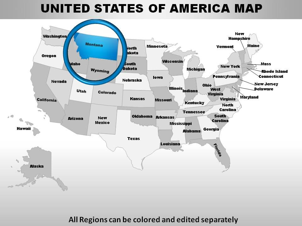 Download US States Montana PowerPoint Maps Powerpoint Templates - Us map powerpoint template