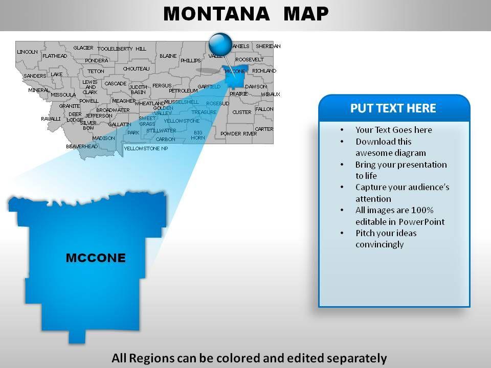 USA Montana State Powerpoint Maps PowerPoint Templates Designs - Montana usa map