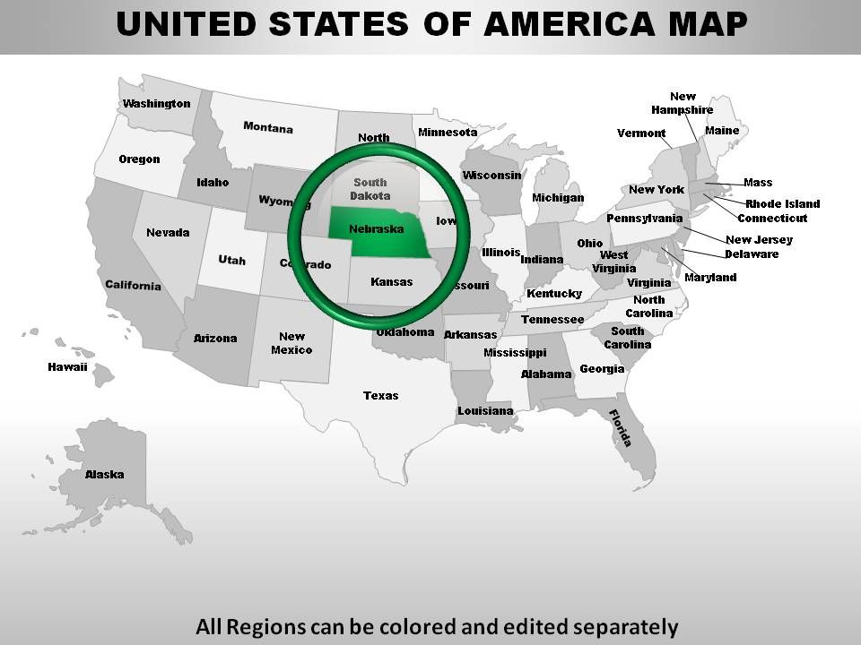 Usa Nebraska State Powerpoint Maps Powerpoint Slide Presentation - Us-map-nebraska-state