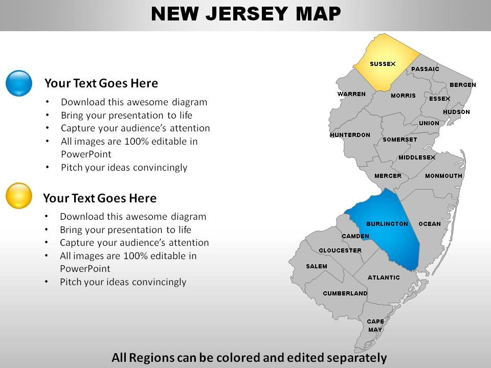 USA New Jersey State Powerpoint Maps PowerPoint Slides Diagrams - Powerpoint usa map