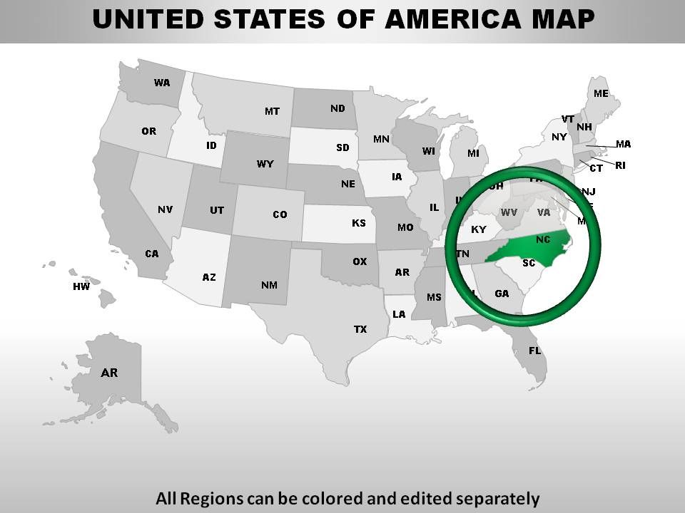 USA North Carolina State Powerpoint Maps | Presentation PowerPoint ...