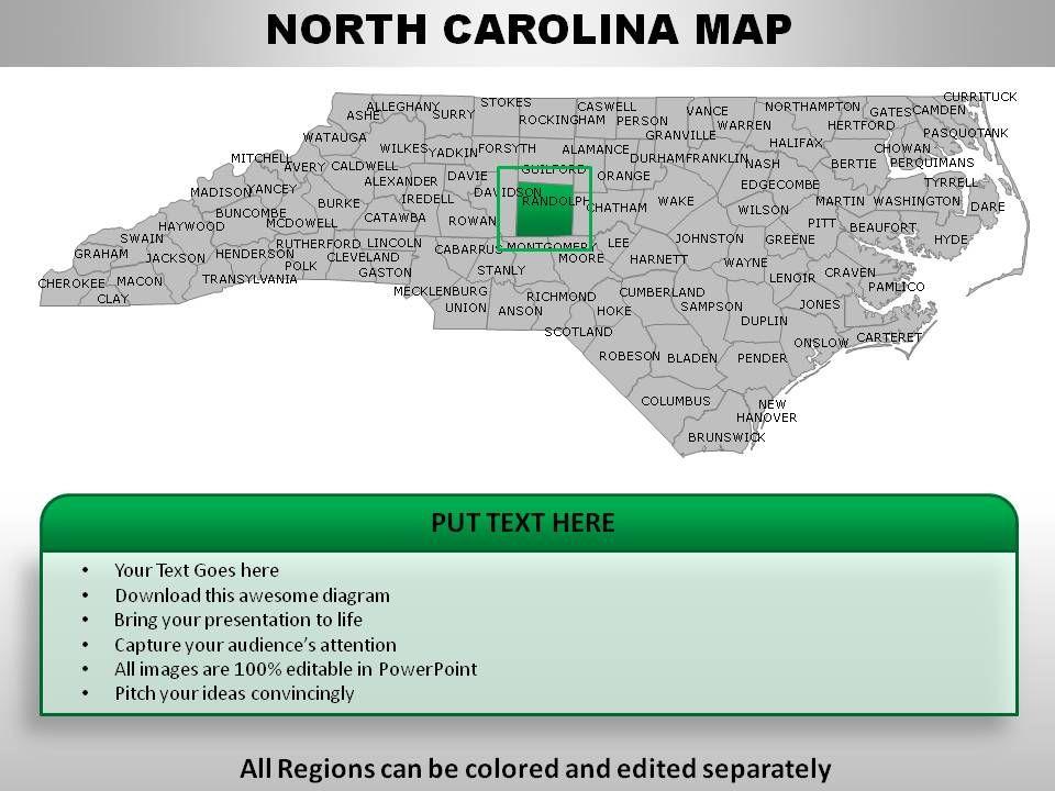 USA North Carolina State Powerpoint Maps Presentation PowerPoint - North carolina map usa