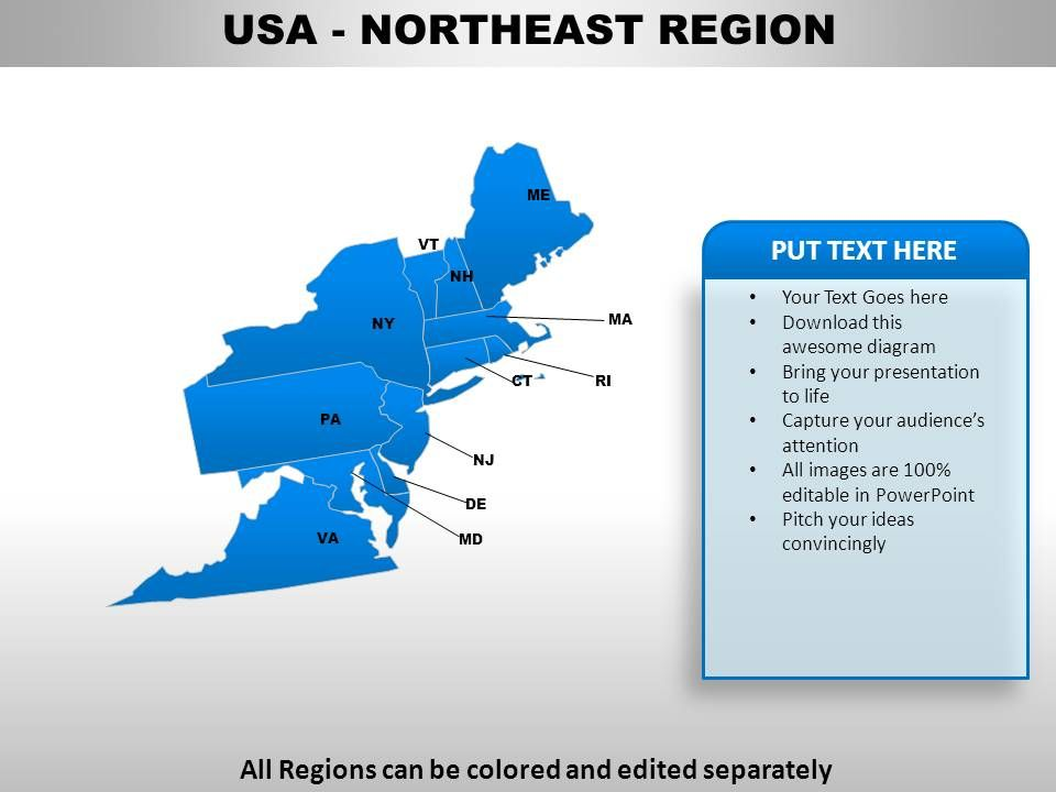 USA Northeast Region Country Powerpoint Maps | PowerPoint ...