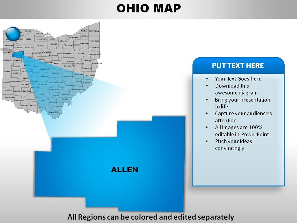USA Ohio State Powerpoint Maps PowerPoint Shapes PowerPoint - Ohio on the map of usa