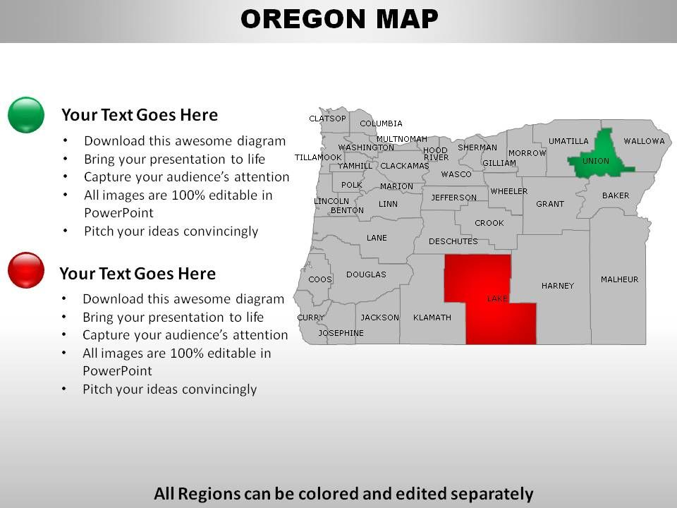 Usa oregon state powerpoint maps for Oregon state powerpoint template