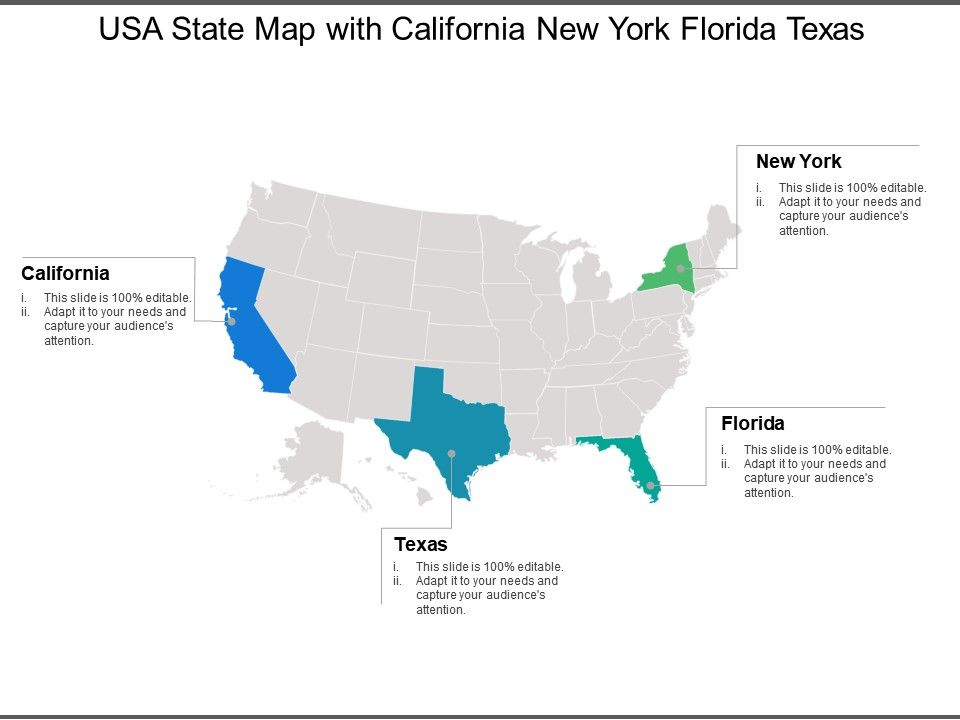 usa state map with california new york florida texas powerpoint