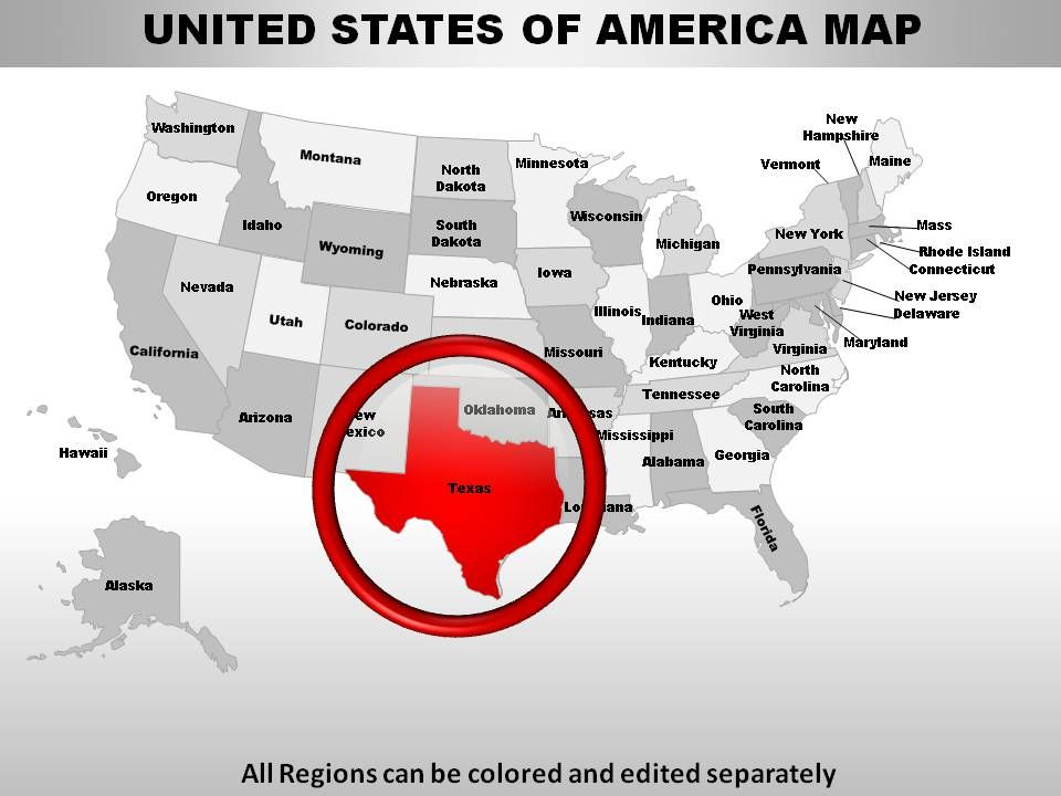 USA Texas State Powerpoint Maps Presentation PowerPoint Templates